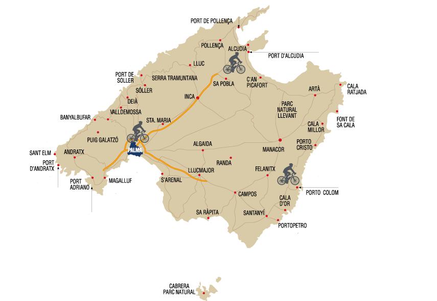Mapa tours en bicicletas Mallorca
