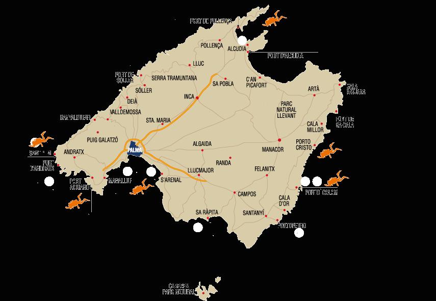 Mapa Centros buceo Mallorca