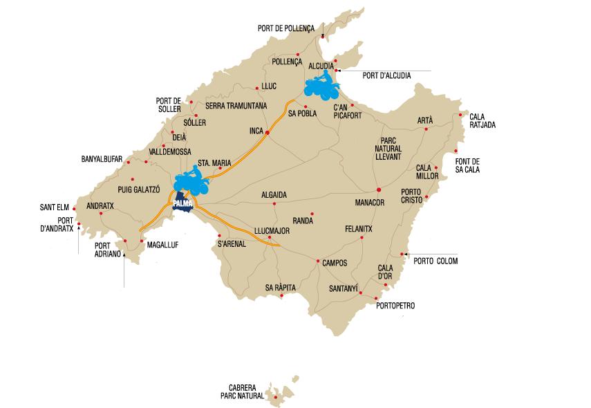 Mapa excursiones en Quad Mallorca